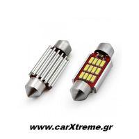 Λαμπάκια Πλαφονιέρας 36mm 12/24V 2,9W 5600K 12LED CANBUS FESTOON Λευκό 2 τεμ