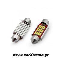 Λαμπάκια Πλαφονιέρας 39mm 12/24V 2,9W 5600K 12LED CANBUS FESTOON Λευκό 2 τεμ