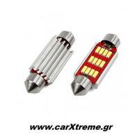 Λαμπάκια Πλαφονιέρας  41mm 12/24V 2,9W 5600K 12LED CANBUS FESTOON Λευκό 2 τεμ